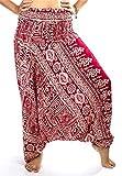 LOFBAZ Yoga Harem Pants for Women Boho Hippie Bohemian Clothing Womens Indian Beach Gypsy Clothes Maternity Genie Jumpsuit Funky Burgundy M