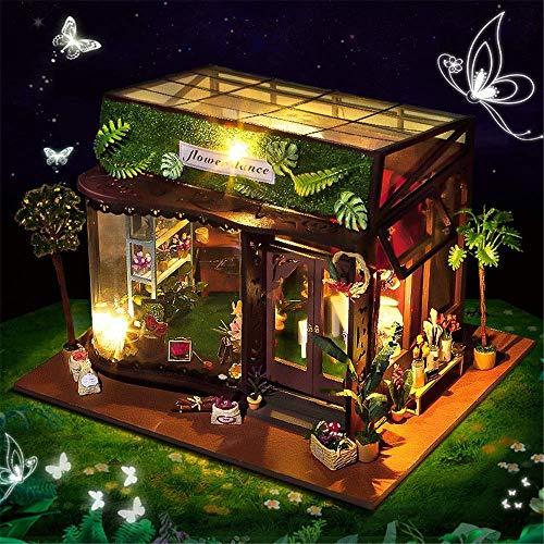 Kinder 'Kinder' Interessantes Spielzeug Diy House Miniatur 3D Gewächshaus Bastelsets für Erwachsene - Holzpuppenhaus mit Möbeln und Accessoires, Lernspielzeug für Mädchen - Mini Diorama House Renovat