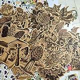 Pegatinas de Papel Kraft Vintage Flores Setas Deco DIY Planificador Diario Álbum Scrapbooking Pegatinas Diario Basura Papelería 45 Piezas