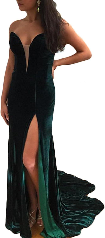 Ellystar Women's Sweetheart Long High Split with Sleeveless Mermaid Prom Dresses