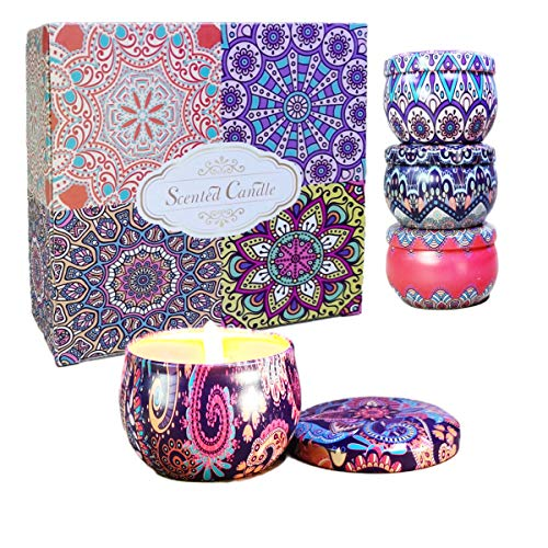 Scented Candles Gift Set 4pcs, Christmas Candle Pack Natural Soy Wax for Stress Relief, Birthday, Bath, Travel, Reusable Tin Fragrance Gift 4 Fragrances - Lavender, Jasmine, Rose, Vanilla