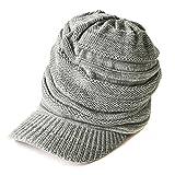 CHARM つば付き ニット帽 [ フリーサイズ/ミックスグレー ] ニットキャスケット 帽子 コットン オールシーズン対応