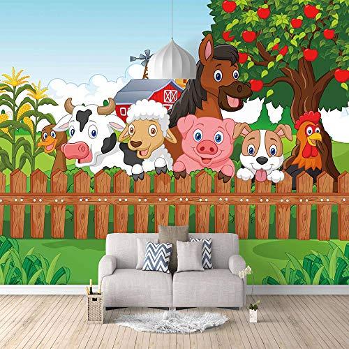 Fototapete 3D Cartoon Bauernhof Moderne Vlies Tapete Wandbilder Wandtapete Wand Dekoration für Kinderzimmer Schlafzimmer 200CMx140CM