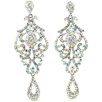 Long Diamante AB Crystal Drop Earrings Gold Tone