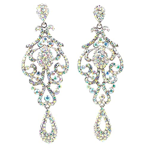 c72cffe51 Large Pageant Clear White Teal Pink AB Blue Austrian Crystal Rhinestone  Chandelier Dangle Drop Earrings Studs