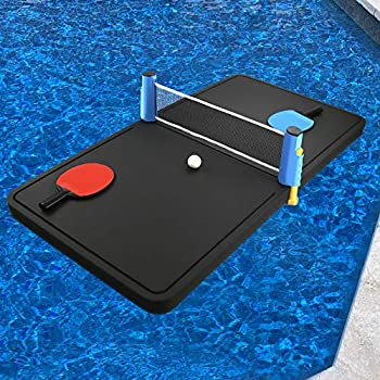 Polar Whale Floating Ping Pong Table Pool Party Table Tennis Float Game Durable Black Foam 4 Feet Long Uv Resistant Includes Net Paddles and Balls