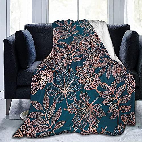 Mantas De Lana, Mantas con Diseño De Hojas De Otoño para Sofá Y Cama, Manta De Microfibra De Felpa, Mantas Súper Suaves Y Cálidas 150X125 Cm