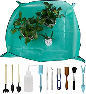 DINGJIN 1 Pcs Garden Kneelers Work Cloth Anti Dirty Gardening Transplanting Pot Pad with 11 Pieces Mini Garden Hand Transplanting Succulent Tools for Indoor Garden Plant Care