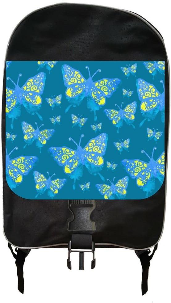 Blue Atlanta Mall and Yellow Grunge Butterflies Design Pen Backpack Print Over item handling ☆