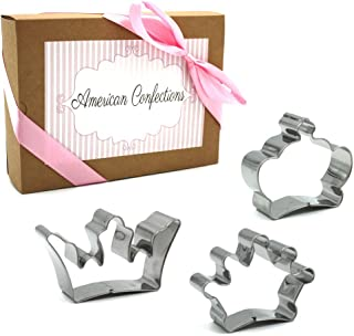 American Confections Crown Cookie Cutter Princess, Birthday, Tea Party - Set of 3