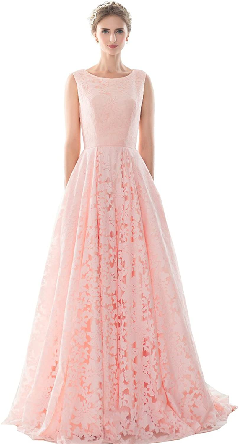 Engerla Pink Jewel Straps Sleeveless Laceup Aline FloorLength Party Dress