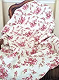 Cozy Line Home Fashions Fuchsia Pink Rose Cream Floral Print Reversible 100% Cotton Quilted Throw Blanket 60' x 50' Machine Washable and Dryable (Roses)