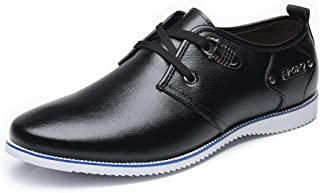 Color : Black, Size : 7 D M Classic Oxfords for Men Formal Dress Shoes Lace up Business Perforated Low Top Flat Genuine Leather Round Toe Solid Anti-Slip` SXBag US