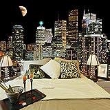 Carta Da Parati Murales,Creativo Gran Tamaño Arte Impresión Hermosa Luna Ciudad Edificio Noche Paisajes Cartel Pared Arte Mural Pintura Para La Sala De Estar Dormitorio Entrada Pared Arte Fondo De