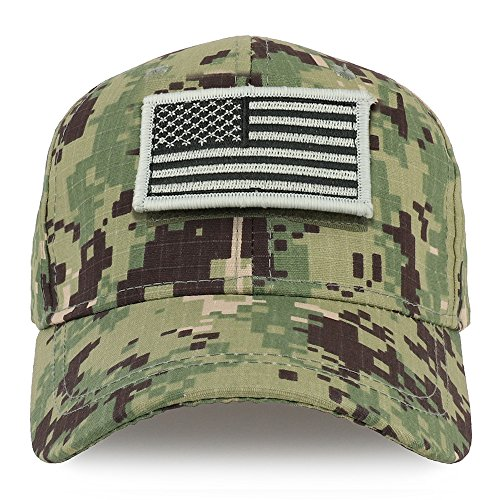 Trendy Apparel Shop Youth Military Silver Black American Flag Patch Tactical Cap - NWU Camo