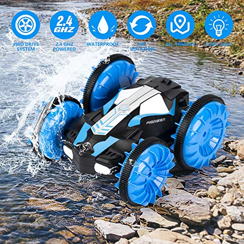 KOOWHEEL RC Cars, Land and Water 2 in 1 Remote Control Car Boat, 4WD 2.4Ghz Waterproof RC Truck Vehicles, 1:16 Remote Vehicle with 360 Degree Spins and Flips for Kids Boys Girls