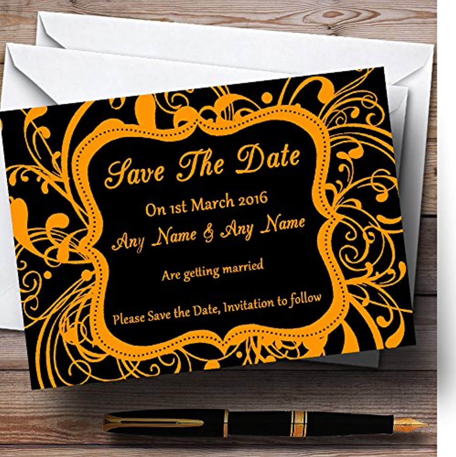 Black & orange Swirl Deco Personalised Wedding Stationery Save The Date Cards