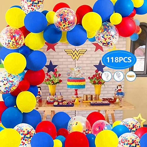 AYUQI Karneval Zirkus Ballon Garland Arch Kit, 118 Gelb Blau Rot Luftballons Mehrfarbige Konfetti Luftballons für Party Hochzeit Karneval Geburtstag Baby Dusche Dekorationen Lieferungen Mädchen Junge