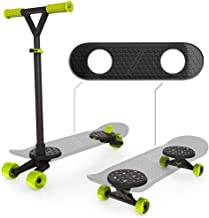 MORFBOARD Skate & Scoot Combo, 2-in-1 Kick Scooter for Kids with 3-Position Adjustable Height and Extra Wide Skateboard Deck, For Boys or Girls 8 Years and Up, Supports 150 lbs