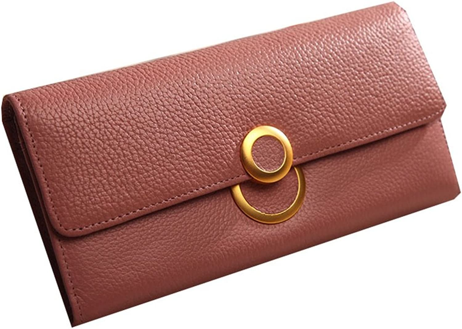 Leather Round Metal Buckles Contracted Both Men and Women Wallet Hand Bag Can Put Mobile Phone Check Package (color   Red)