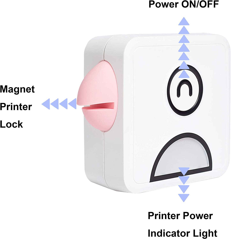 Wireless Sticker Printer - Inkless Mini Pocket Photo Printer for Smartphone,PC,Versatile for Printing Logo, Notes,Journal,List,Memo