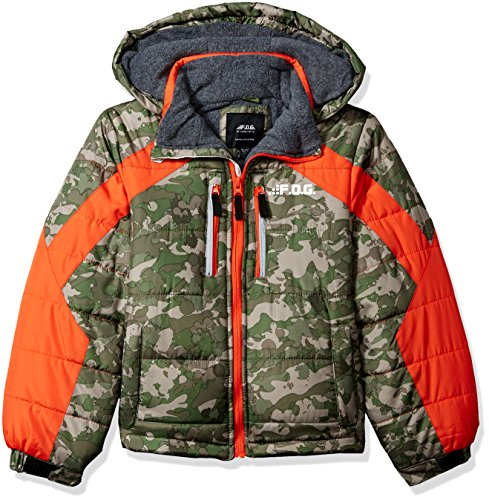 LONDON FOG Boys' Little Active Puffer Jacket Winter Coat, Real Green camo, 5/6