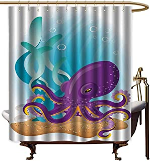 Godves Funny Shower Curtain,Marine Cute Octopus on Seabed Underwater with Coral Reefs Aquarium Print,Polyester Fabric Waterproof,W55x84L,Sky Blue Purple Sand Brown