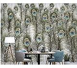 Rureng Pluma De Pavo Real Nórdico Minimalista Moderno 3D Mural Pintado Mural Para Sala De Estar Sofá Tv Dormitorio De La Pared Restaurante Bar-400X280Cm