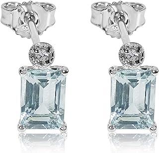 Pendientes Mujer Oro y Diamantes - Oro Blanco 9 Quilates 375 ? Diamantes 0.03 Quilates - Aguamarina 2 Quilates