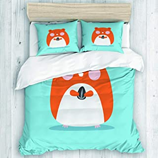 DAHALLAR Duvet Cover Set,Brown Happy Cute Hamster Pet Holding Sun Flower Seed Colorful Animal Cartoon,Decorative 3 Piece Bedding Set with 2 Pillow Shams Twin Size