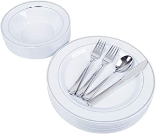 25 Heavyweight Elegant Plastic Disposable Place Settings: 25 Dinner Plates, 25 Salad or Soup Bowls, 50 Polished Silver Plastic Forks, 25 Knives & 25 Spoons (whole set)