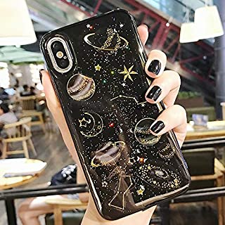 Topwin Space Case Compatible iPhone Xs Max, Bling Glitter Space Planet Sparkle Stars Moon Cosmos Outter Space Soft Flexible TPU Silicon Case for Apple iPhone Xs Max (Black)