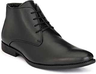 LEVANSE Leather Formal Boots Office/College Shoes Black for Men & Boys
