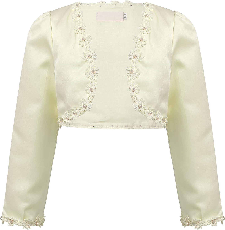 Choomomo Kids Girls Long Sleeve Lace Bolero Cardigan Shrug Flower Girl Pageant Wedding Dress Jacket Cover Up Champagne Beaded 8-9