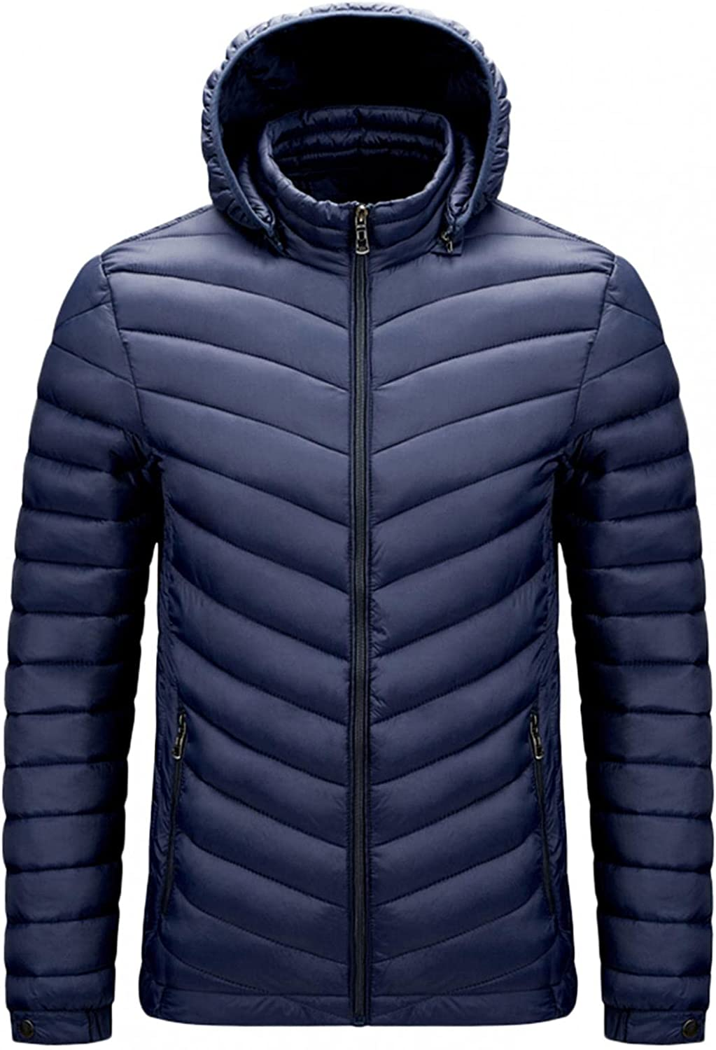 XUNFUN Men's Ultralight Packable Down Jackets Casual Breathable Winter Parka Puffer Down Coats Outwear with Removable Hood