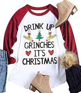 Drink UP Grinches It's Christmas Tshirt Plus Size Christmas Shirts O Neck Splicing Blouse Tops