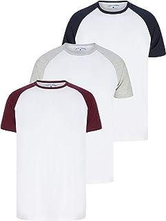 Tokyo Laundry Mens 3 Pack Plain Combed Cotton Tee T-Shirt Top Plain Mix Colours