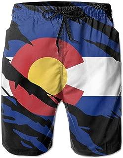 Ripped Colorado Flag Men's Board Shorts Swim Trunks Beachwear Casual Classic Fit Beach Shorts