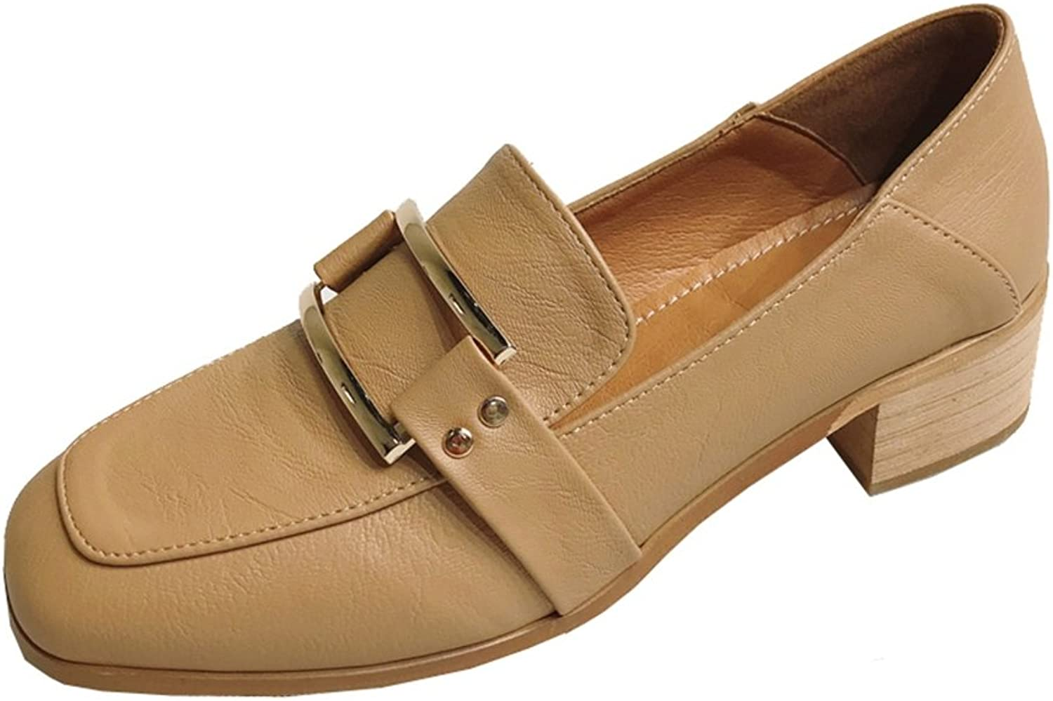 T-JULY Women's Metal Square Loafers with Rough High-Heeled British Style shoes