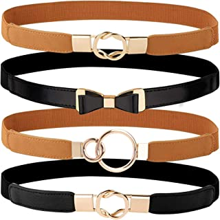 Hicdaw 4Pcs Women Skinny Waist Belts Adjustable Belts with Metal Buckle for Dress