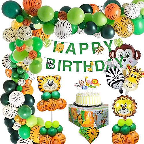 Jungle Decoration Anniversaire Garcon Safari Deco Anniversaire Bannière Joyeux Anniversaire Animaux Safari Jungle Ballons pour Garçon Anniversaire Bébé Douche Décor Réutilisable