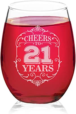 Veracco Cheers To 21 Years Twenty One 21st Birthday Gift For Him Her Twenty One and Fabulous Stemless Wine Glass (Clear, Glass)