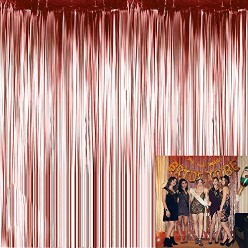LABOTA 4 Piezas Cortina Brillante (92 x 245cm) Cortina de Oropel Metálica Cortina de Borla de Fondo de Foto para Decoración Pared Fiestas Cumpleaños Navidad Boda, Oro Rosa