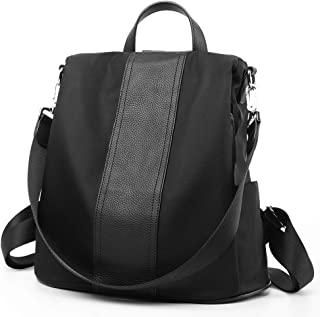 Waterproof Genuine Leather Casual Backpack Convertable Straps Daypack Durable Black