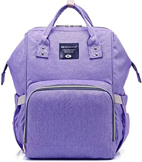 Hamkaw Large Capacity Diaper Bag Backpack for Mom and Dad Multi-Function Waterproof Nappy Bags with Multi Compartment Stylish Mommy Backpack Purple