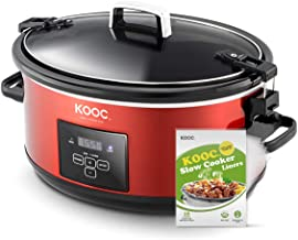 [NEW ARRIVAL] KOOC Programmable Slow Cooker 7-Quart, Larger than 6 Quart, with Digital Timer, Free Liners Included for Easy Clean-up, Portable with Lid Lock, Upgraded crock pot, Adjustable Temp, Nutrient Loss Reduction, Red, Oval