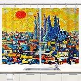 YUDILINSA Cortinas para Ventana de Cocina,Barcelona Sagrada Familia Panorama Abstracto Ciudad Europea,Cortinas Cortas con Decoración de Ganchos para Baño,Paquete de 2,140x100cm