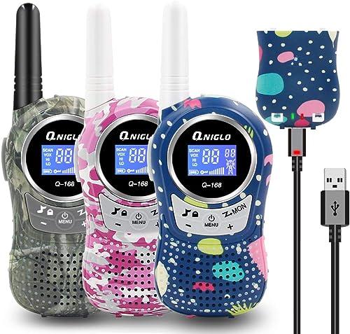 QNIGLO Q168Plus Talkie Walkie Enfants Rechargeable Camouflage, Mains Libres VOX Activé par Voixà 8 Canaux,Longue Port...