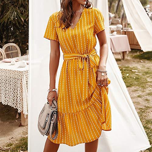 HJKH Vestidos de Verano Imprimir Ocasionales Atractivas V-Cuello Temperamento del Verano del Vestido de la Falda Larga Correa de Las Mujeres de la Raya Fiesta Casual Salir (Color : Yellow, Size : XL)