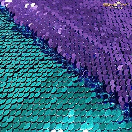 ShinyBeauty Tela de Sirena Turquesa a púrpura 1 Yarda Tela de Lentejuelas...